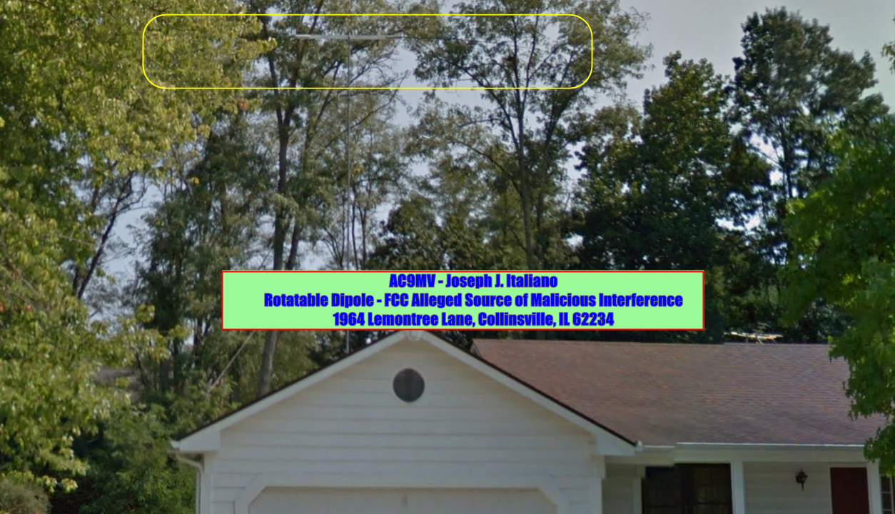 FCC WARNS JOSEPH J. ITALIANO - ROTATABLE DIPOLE & QRM LOCATION SHOWN